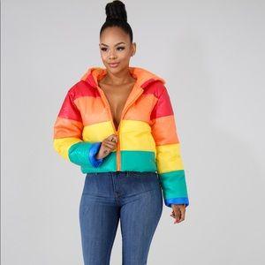 Jackets & Blazers - Rainbow puffer coat